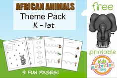 """This African Animals Printable Kindergarten Worksheet Pack will have your children saying """"lions and tigers and elephants, oh my! Animal Activities, Alphabet Activities, Preschool Activities, Kindergarten Units, Kindergarten Worksheets, Preschool Lesson Plans, Free Preschool, Theme Days, African Animals"""