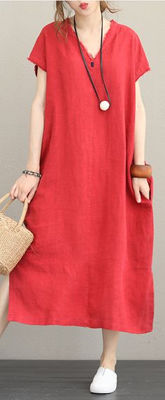 78489e6cb4 Fine gray linen caftans oversize v neck short sleeve side open gown Elegant  baggy dresses maxi dresses