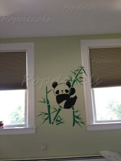 Custom PopDecals  Panda and Bamboo  kids room  Beautiful Tree Wall Decals for Kids Rooms Teen Girls Boys Wallpaper Murals Sticker Wall Stickers Nursery Decor Nursery Decals
