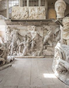 A plaster cast relief group from the west frieze and staircase of the pergamon altar, late 19th century
