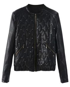 Studded Quilted Round-neck Leather Jacket
