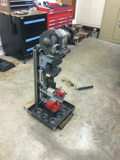 Vise and Grinder stands. I& looking for ideas on how to use several in limited space - Page 9 - The Garage Journal Board Garage Tools, Garage Shop, Diy Garage, Garage Workshop, Workshop Ideas, Garage Ideas, Garage Storage Solutions, Tool Storage, Metal Projects