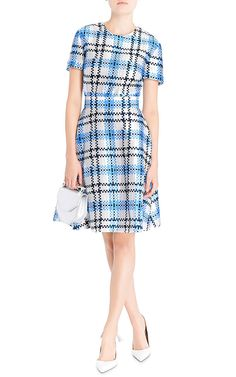 Silk Check Flared Dress by Thom Browne Now Available on Moda Operandi