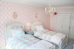 Project Nursery - Pink and Aqua Girls Shared Bedroom