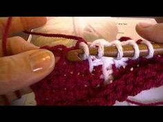 Tunisian Simple Stitch Intarsia  Great video on how to divide the color and change color