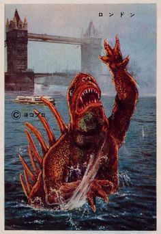 'Bromide cards showing various pachimon kaiju (imitation creatures based loosely on famous TV and movie monsters) at iconic locations around the world. Scary Monsters, Famous Monsters, Fantasy Movies, Fantasy Art, Power Rangers, Illustrations, Illustration Art, Giant Monster Movies, Japanese Superheroes