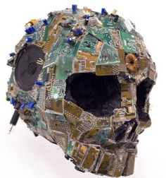"""Circuit Skull"" is a prizewinning piece by Graham Rudge from the Yukon School of Visual Arts, entered in a Bank of Montreal competition."