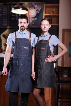Barista Denim Long Apron with Cross-Back Leather Straps/ Bartender Apron / Leather Apron/ Canvas Apron/Mens Apron / Womens Aprons - U352C