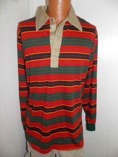 Vintage 1970's THE DIMENSION SHOP Big Men Longsleeve Shirt Size 1X #TheDimensionShop #PoloRugby