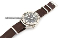 NATO Coffee Brown Leather Watchstrap For Seiko Watches