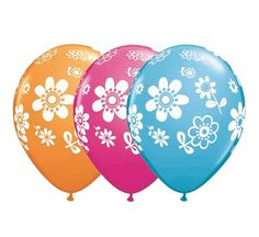 """Balon lateksowy 11"""" (29 cm) z nadrukiem w Kwiatki. Doskonała dekoracja na przyjęcie urodzinowe dla dziewczynki."""