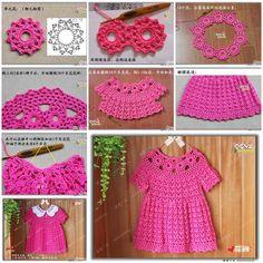 DIY schönes Häkelkleid für Mädchen  #hakelkleid #madchen #schones Crochet Dress Girl, Baby Girl Crochet, Crochet Baby Clothes, Baby Blanket Crochet, Crochet Diy, Crochet For Kids, Vestidos Bebe Crochet, Knitting Patterns, Crochet Patterns