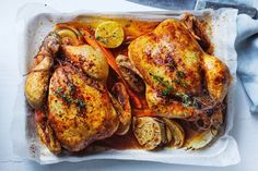 Curtis Stone's roast chickens with lemon and herbs Roast Chicken Recipes, Herb Recipes, Dinner Recipes, Dinner Ideas, Apricot Chicken, Lemon Chicken, Fried Chicken Skin, Masterchef Recipes, Lemon Herb