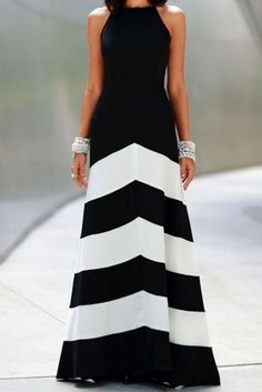 Black White Striped Sleeveless Maxi Dress
