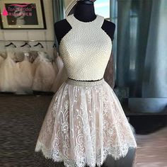 Two Pieces Homecoming Dresses Lace short Homecoming Dress Prom Dress cocktail Dress With Pearls 2016  vestidos de fiestas Z254