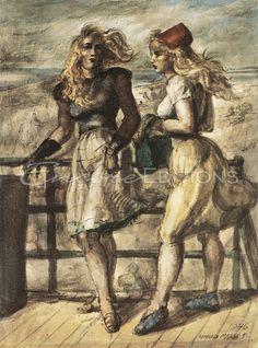 Reginald Marsh - Two Women on the Boardwalk Painting