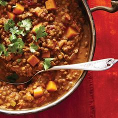 Squash and Lentil Curry. **only added 2 cups broth. Added 1 tsp curry powder and tsp cayanne** Vegetarian Curry, Best Vegetarian Recipes, Indian Food Recipes, Healthy Recipes, Ethnic Recipes, Vegetarian Meals, Slow Cooker Recipes, Cooking Recipes, Slow Cooking