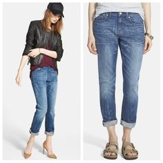 "Madewell 'The Slim Boyjean' Boyfriend Jeans Madewell 'The Slim Boyjean' Boyfriend Jeans.  Purchased from Nordstrom.  This leaner take on Madewell's Boyjean denim style is designed to sit comfortably on the hips before gradually slimming down the legs. Artful whiskering and subtle paint flecks accent the blue wash for a cool, celestial effect. Brand new with tags still attached.  Price is firm.  Waist measured when flat 17.5"".  Rise 9"".  Inseam 29"". Madewell Jeans Boyfriend"