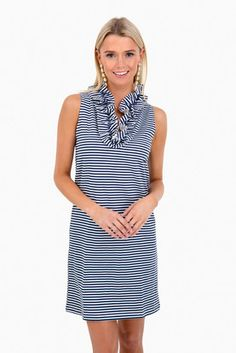 768038627d0c83 Navy Striped Sleeveless Skipper Dress Navy Stripes