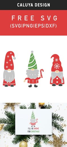 FREE Merry Christmas Gnomes SVG cut file, Printable vector clip art download. Free printable clip art. Compatible with Cameo Silhouette, Cricut explore and other major cutting machines. 100% for personal use, only $3 for commercial use. Perfect for DIY craft project with Cricut & Cameo Silhouette, card making, scrapbooking, making planner stickers, making vinyl decals, decorating t-shirts with HTV and more! Free Christmas SVG Cut File, Free Gnomes SVG, free Holiday SVG Merry Christmas Printable, Christmas Vinyl, Free Christmas Printables, Christmas Gnome, Christmas Clipart, Free Christmas Clip Art, Happy Christmas Day, Christmas Cards To Make, Merry Christmas Card