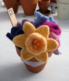 Pot of needlefelted spring flowers made for Mother's Day