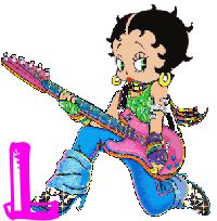 Alfabeto animado de Betty Boop tocando la guitarra. | Oh my Alfabetos!