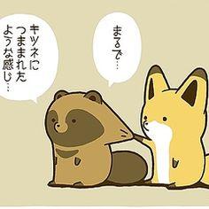 [画像] フォロー数16万人突破「タヌキとキツネ」のゆるい日常を描いたマンガがTwitterで大人気! Anime Animals, Animals And Pets, Funny Animals, Cute Animals, Japanese Cartoon, Cute Japanese, Japanese Illustration, Cute Illustration, Cute Characters