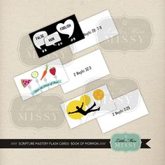 Scripture Mastery Flash Cards, Book of Mormon (Color), Instant download by Little Miss Missy
