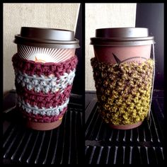 Initial attempt at cup cozies. They may sound silly but this green tea is too hot to hold without them!) I'm debating between dressing them up a bit: crocheted edging, a small pendant, crocheted flower.or leaving them plain. What do you think? Cup Cozies, Shawls And Wraps, Crochet Flowers, Initials, Dressing, Tea, Stitch, Pendant, Tableware