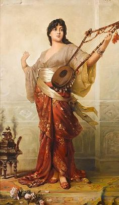 The Lute Player. Nathaniel Sichel (German, Oil on canvas. Sichel is often compared to Max Nonnenbruch, but in their circles of influence, exceeded him in fame and popularity. Portrait Photos, Pre Raphaelite, Classical Art, Arabian Nights, Harp, Art Plastique, Art History, Character Inspiration, Oil On Canvas