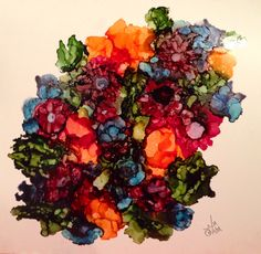 Ready for spring in alcohol ink by me, Laurie Henry. Copyright 2014