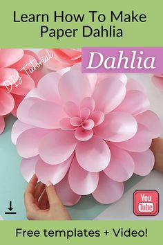 "Learn how to make this gorgeous dahlia flower with FancyBloom! And make sure to click the link to download free templates! And if you want to go further and make the whole paper flower backdrop, then be sure to check out ""Paper Flower Backdrop DIY Kit"". Paper dahlia, paper dahlia diy, diy paper dahlia, paper dahlia tutorial, paper dahlia templates, paper flowers #paperdahlia #dahliadiy #paperflowertutorial #diypaperflower Paper Dahlia, Paper Flower Wall, Dahlia Flower, Paper Flowers Wedding, Diy Flowers, Fabric Flowers, Paper Flower Patterns, Paper Flower Tutorial, Flower Wall Backdrop"