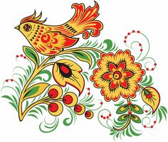 Folk Khokhloma painting from Russia. A floral pattern with a bird. #art #folk #painting #Russian