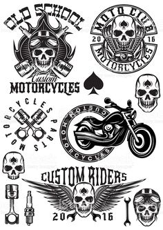 set of badges, logos on theme motorcycles with skulls royalty-free stock vector art
