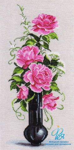 Набор вышивки ОВЕН 537 - Розовое настроение. Купить набор для вышивания частичной зашивкой крестом ОВЕН 537 в интернет-магазине Фея.