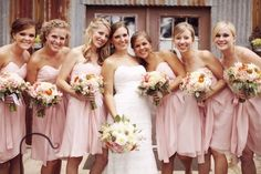 Beautiful soft pink bridesmaid dresses