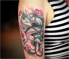 Dragon Tattoo Shoulder, Dragon Tattoo Arm, Dragon Tattoo For Women, Dragon Sleeve Tattoos, Dragon Tattoo Designs, Tattoo Designs For Women, Dream Tattoos, Line Tattoos, Trendy Tattoos