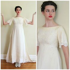 Vintage 1960s Short Sleeved Wedding Dress with by BasyaBerkman