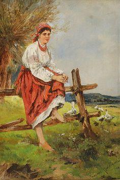 Tadeusz RYBKOWSKI (1848-1926)  Wiejska dziewczyna, ok. 1885 olej, deska; 21 x 14,5 cm;