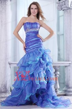 Strapless Beading and Ruffles Layered Mermaid Purple and Blue Prom Dress