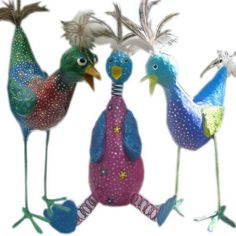How to Make Whimsical Paper Mache Birds by paintedpawstudio, $15.00