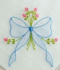 SE1002 Shadow Embroidered Bow with Rosebud Spray - KLD Embroidery Designs