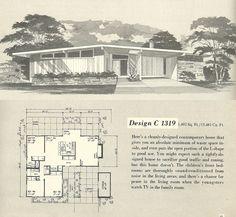 Excellent use of space! Modern Floor Plans, Modern House Plans, Small House Plans, Modern Houses, Mansion Plans, Mcm House, Vintage House Plans, Modern Art Deco, Googie