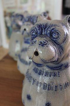 Absinthe Delizy & Doistau - three different blue and white absinthe water pitchers