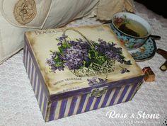 Fiołki-herbaciarka, pojemnik na herbatę, ręcznie zdobiony, wykończony na matowo.