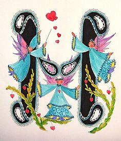 FLOWERS AND LETTERS FOR DECOUPAGE Typography Fonts, Lettering, Alphabet And Numbers, Alphabet Letters, Free Machine Embroidery Designs, Illuminated Letters, Folk Art, Beautiful Pictures, Scrapbook