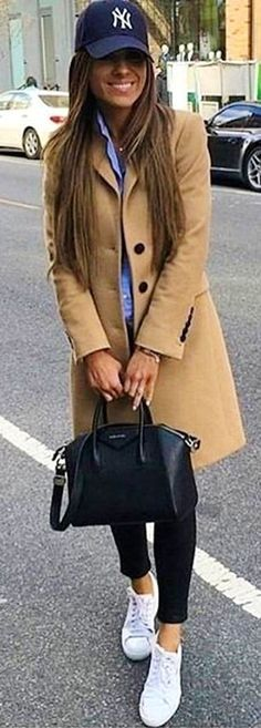 #winter #outfits  brown button-up coat