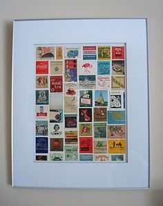 Matchbook Cover Collage tutorial. Hubs has tons of matchbooks from all over. Wonder if he'd let me do this to display them?