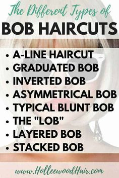Bob haircuts are kinda amazing.but do you know the difference between a graduat… Bob haircuts are kinda amazing.but do you know the difference between a graduated bob, a-line haircut, and the other types of bob haircuts? Layered Bob Hairstyles, Short Bob Haircuts, Graduated Bob Haircuts, Graduated Bob Medium, Thick Bob Haircut, Short Hairstyles, Angel Bob Haircut, A Line Haircut Short, Bobbed Haircuts