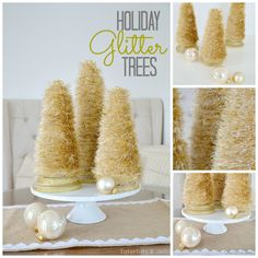 DIY Holiday Glitter Trees made from specialty yarn, styrofoam cones and wood rounds  {Tater Tots & Jello}